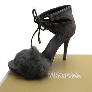MICHAEL KORS  Women's REMI Fur ans Suede Sandal